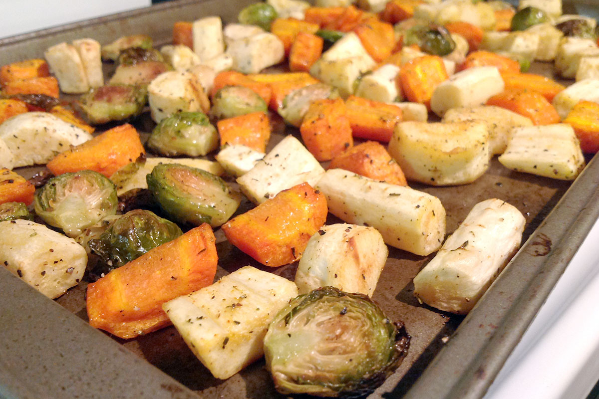 Roasted Parsnips, Carrots and Brussels Sprouts