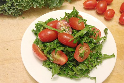Balsamic Grape Tomato & Kale Salad